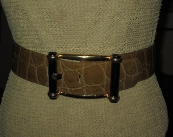 Vintage Simon Chang Womans Wide Belt ,  Olive Green  Faux Leather ,  Size Small , Printed