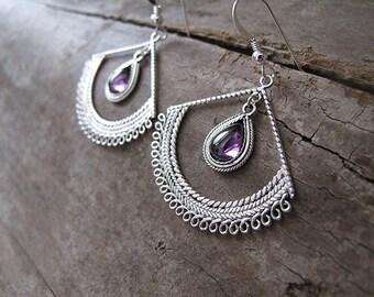 Amethyst silver earrings, Filigree earrings, Gypsy earrings, February earrings, Israel jewelry, Ethnic earrings, Yemenite earrings