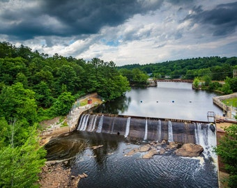 Dam on the Piscataquog River, from Pinard Street Bridge, Manchester, New Hampshire. | Photo Print, Stretched Canvas, or Metal Print.