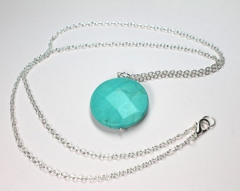 Blue Turquoise Gemstone in Silver, Round Turquoise, December Birthstone, Southwestern Style, Long Layering Necklace