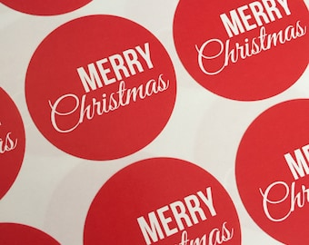 Red 'Merry Christmas' Circlular Stickers 37mm