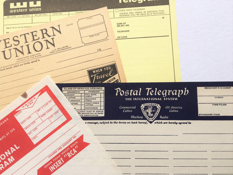 four vintage blank telegram cablegram forms western union rca postal telegraph. Black Bedroom Furniture Sets. Home Design Ideas
