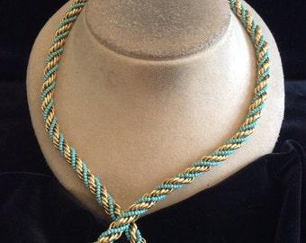 Vintage Blue Glass Beaded Goldtone Twisted Designed Necklace