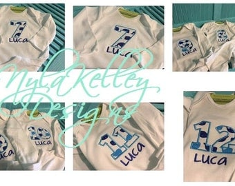 Baby Whales All months Milestone Onesie Count Number Months Age 1 mo 2 mo 4mo 6 mo White Custom Embroidered Month to Month Name Personalized