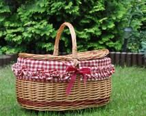 Willow picnic basket, gingham insert, Vichy fabric, new wicker picnic baskets, lined picnic basket, hand woven, decorative picnic basket