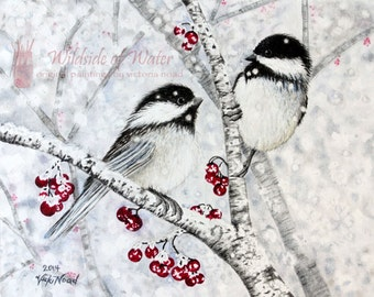 """Print of Winter Chickadees and Red Berries Original Watercolor Painting, 8"""" x 10"""", 2014"""