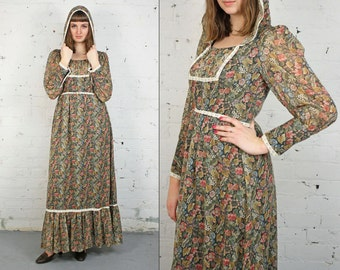 Vintage 1970s Green/Pink Floral Maxi Peasant Dress with Hood