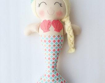 Mermaid doll - fabric doll  - handmade doll - modern rag doll - girls room decor - girls toy - mermaid - nursery decor