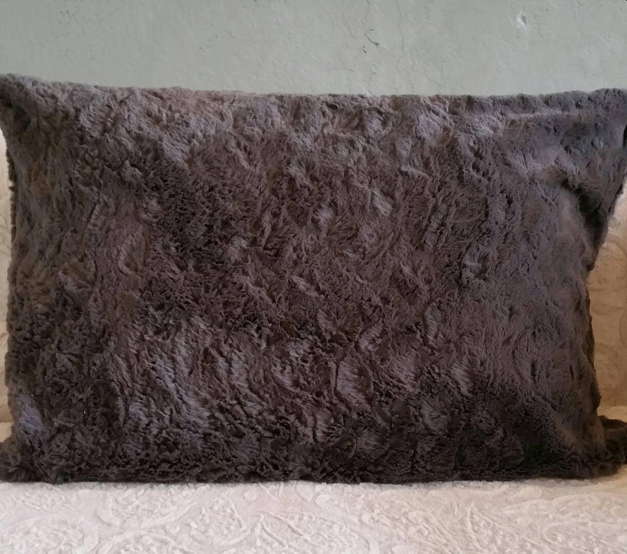 Dark Charcoal Grey Faux Fur Pillow Shams King Size