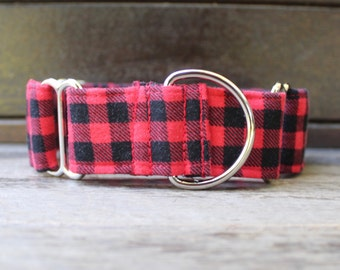 """Martingale Dog Collar in Buffalo Plaid for Boy and Girl Dog, """"The Jack"""" by Bullenbeisser"""