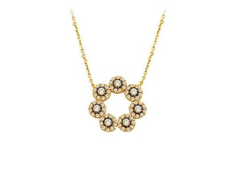 14K Solid Gold Ottoman Flower Pandent  Necklace