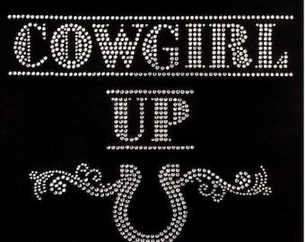 Cowgirl up Rhinestone Iron on Transfer Y2FT
