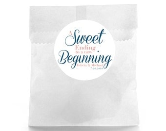 Sweet Ending Wedding Favor Stickers - Personalized Wedding Favor Labels - Wedding Favor Labels - Thank you stickers - dessert bar labels