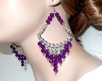 ON SALE 30% OFF Large purple and silver acrylic beaded chandelier chainmaille diva earrings, long and lightweight