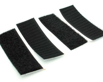 "VELCRO Heavy Duty Fastener STRIPS self Adhesive 2 Sets sticky back BLACK Hook & Loop fasteners with self stick backing 3.5"" inch x 1"" 91556"