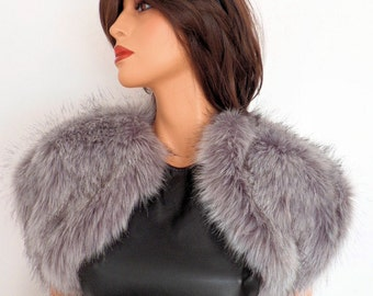 silver fur bolero, grey fur wrap, gray fake fur, bridal shrug, shawl, stole