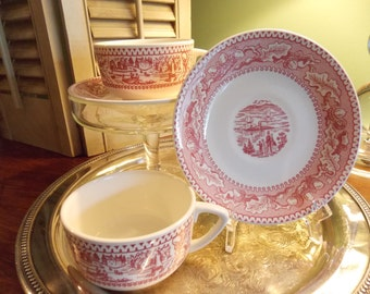 Pair of RED TRANSFER WARE Cups & Saucers