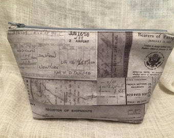 Vintage Travel Papers Zipper Clutch