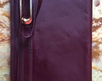 1980s Vintage ladies Italian brown Leather Clutch/hand bag
