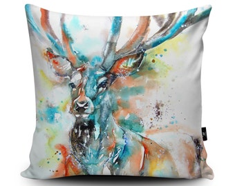 Monarch of the Glen Pillow, Stag Pillow, Stag Cushion, Scottish Deer Cushion, British Wildlife Pillow, 45cm/60cm Faux Suede Cushion