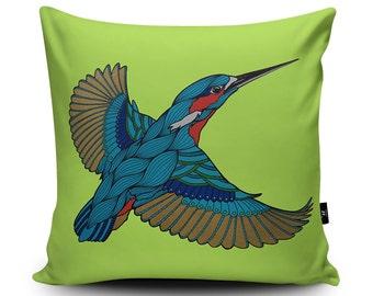 Kingfisher Cushion, Kingfisher Pillow, Bird Cushion, Bird Home Decor, Kingfisher, Green Cushion 18inch / 23.6inch Faux Suede Cushion