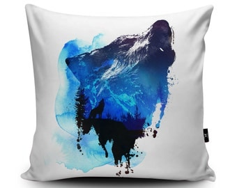 Wolf Cushion Wolf Illustration Pillow Mountain Wolf Cushion Animal Pillow by Robert Farkas, 45cm/60cm Faux Suede Cushion