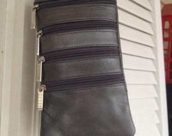 Pewter leather crossbody bag
