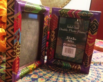 "Hand Painted Bohemian Travel  Or Shutin  Double Photo Frame  9.5""Wx6""Hx1""D  F0037"