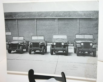 Vintage Army Jeep photograph of different styles of jeeps 11 inches x 14 inches balck and white