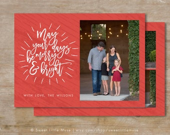 Holiday card template - Christmas card template - christmas card template - Merry and Bright Christmas