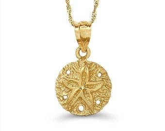 """14k solid gold sand dollar pendant on an 18"""" solid gold chain, nautical jewelry"""