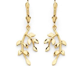 14K Gold Leaf Earrings, 14K Solid Gold, Leaf Earrings, Leaf Design, Leaf, Leaves, Gold Leaf, Leaf Jewelry, Gold Earrings, Gold