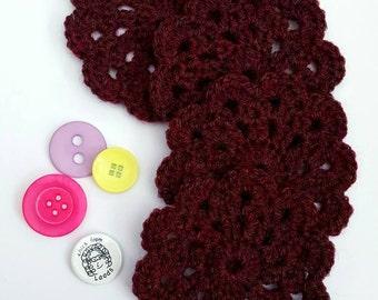 Crocheted Coasters, set of 4, Deep Red,  home decor, housewarming gift , new home, mug rug, drinks coaster, coaster set, drink mat
