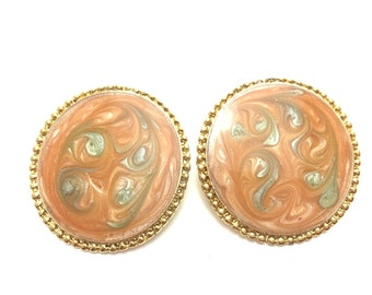 Vintage Gold Peach Swirl Large Round Earrings