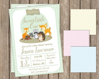Baby Shower Woodland Theme with Fox with Gingham Background | Welcome Little One | Baby Shower