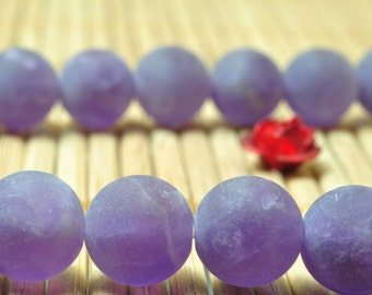 37 pcs of Natural Amethyst matte round beads in 10mm