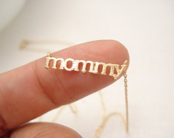 """Gold """"mommy"""" necklace..simple handmade jewelry, everyday, mother's birthday, mother's day, newly mom"""