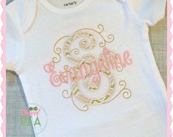 Personalized Princess Shirt - Personalized Shirt, Bodysuit/ Infant coming home outfit / embroidered shirt / baby girl shirt