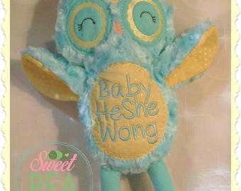 Personalized Owl Stuffie- Stuffed Animal - Stuffed owl - Plush Toy - Embroidered owl -