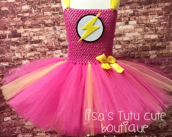 Flash tutu, Flash costume, Flash tutu dress, Flash comic con tutu, Pink flash tutu, Pink flash tutu dress, Pink flash costume