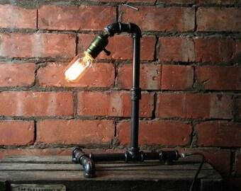 Edison Bulb Styled Desk Lamp Industrial Steampunk Retro Pipe Steel