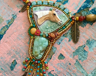 Palomino horse necklace