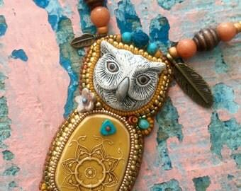 Boho white owl necklace