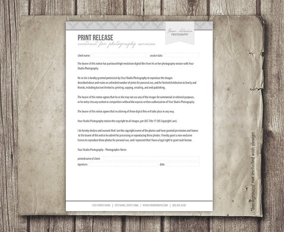 Print Release Form For Photographers Photography Business