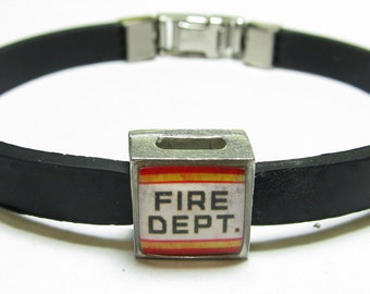 Fire Deptartment Support Link With Choice Of Colored Band Charm Bracelet