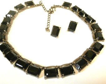 Signed Swarovski Necklace & Earrings with Black Ice-Cube Crystals on Gunmetal