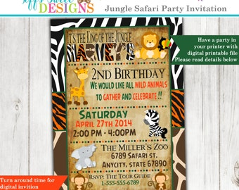 Jungle Birthday Invitation - Safari Birthday Invitation - Animals - Lion -  Toucan - Monkey - Giraffe -  Elephant
