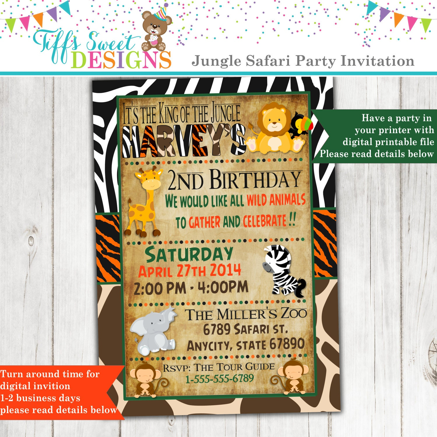 Jungle Birthday Invitation Safari Birthday Invitation