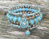 Czech Glass Decorative Detailed Multi Coil Memory Wire Wrap Bracelet with Charms