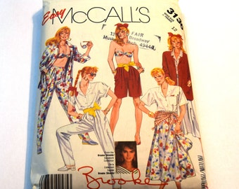 Vintage 1980s McCalls 3136 sportswear jacket, shirt, bra, skirt, pants and shorts sewing pattern